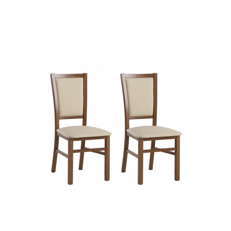 Krzesła MINOR komplet 2 szt. dąb/kremowy Forte
