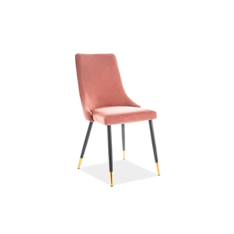 Krzesło Piano Velvet Czarny/Złoty Stelaż/Róż Antyczny Bluvel 52 Signal