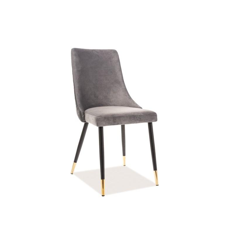 Krzesło Piano Velvet Czarny/Złoty Stelaż/Szary Bluvel 14 Signal
