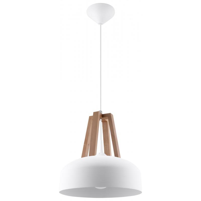 Lampa Wisząca CASCO Biała/Naturalne Drewno