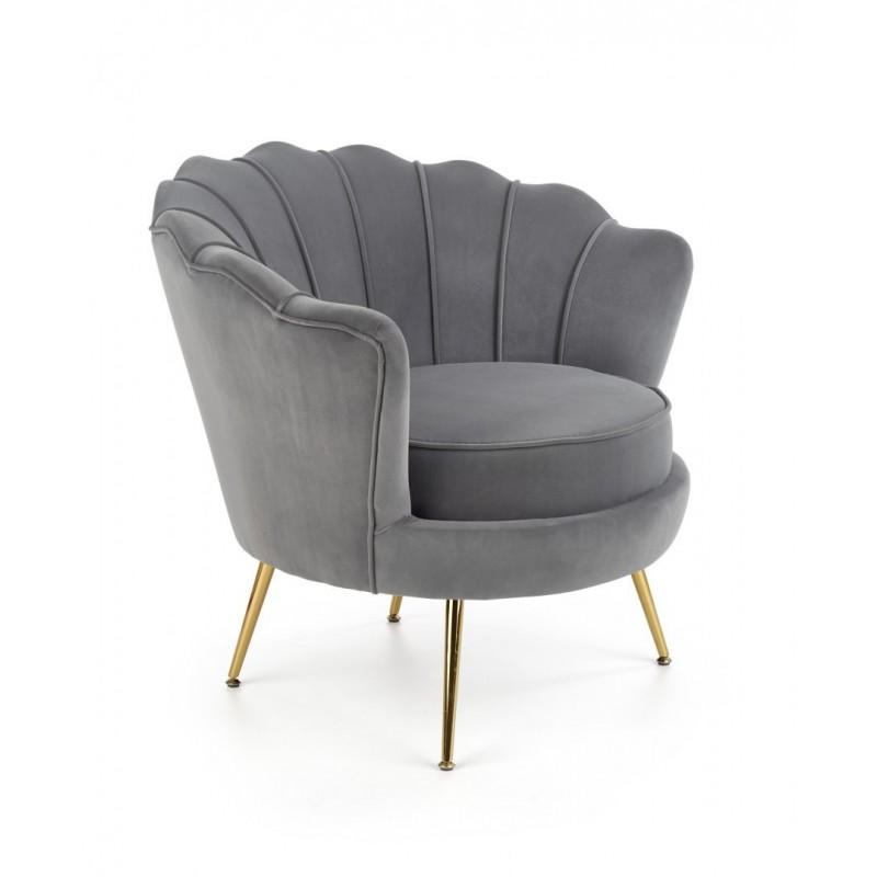 AMORINITO fotel wypoczynkowy popielaty / złoty