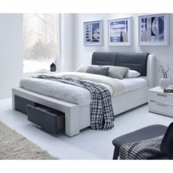CASSANDRA S 160 cm łóżko tapicerowane z szufladami czarno-biały