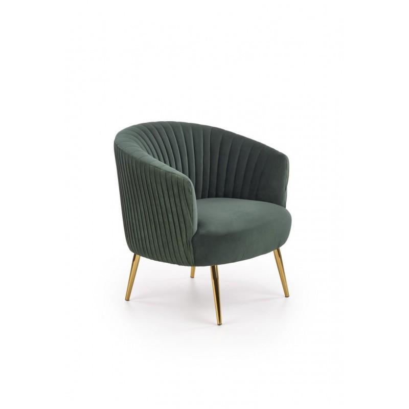 CROWN fotel wypoczynkowy ciemny zielony / złoty