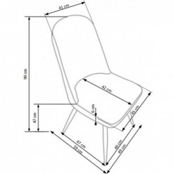 K214 krzesło ciemny kremowy / dąb miodowy