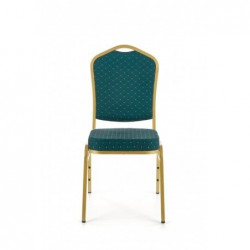 K66 krzesło zielony, stelaż złoty