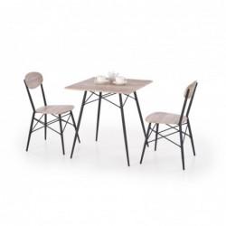 KABIR kwadrat zestaw stół + 2 krzesła dąb san remo / czarny