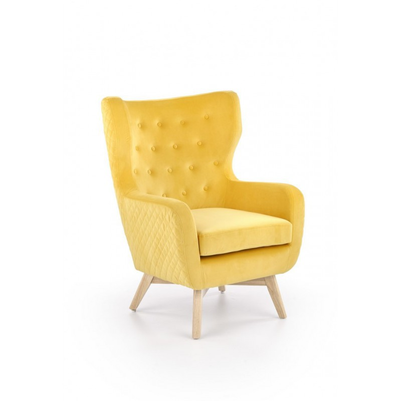 MARVEL fotel wypoczynkowy musztardowy / naturalny