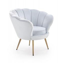 AMORINO fotel wypoczynkowy jasny niebieski, nogi - złote