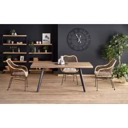 BERLIN stół rozkładany blat - orzechowy, stelaż - czarny