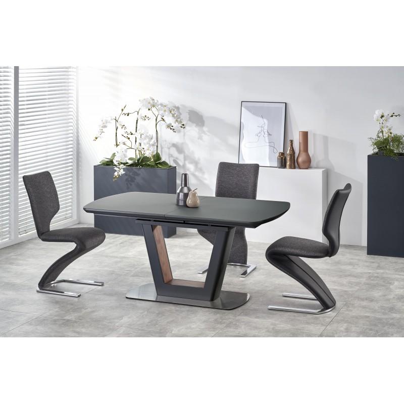 BILOTTI stół rozkładany antracytowy mat / orzech