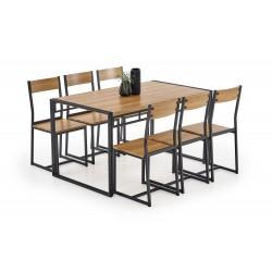 BOLIVAR zestaw stół + 6 krzeseł dąb złoty / czarny