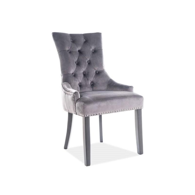 Krzesło Edward Velvet Czarny Stelaż/Szary Bluvel14 Signal