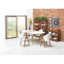 Stół rozkładany CALIBER biały/dąb san remo Halmar