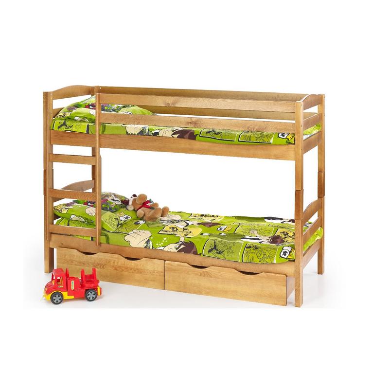 SAM - łóżko piętrowe z materacami - sosna