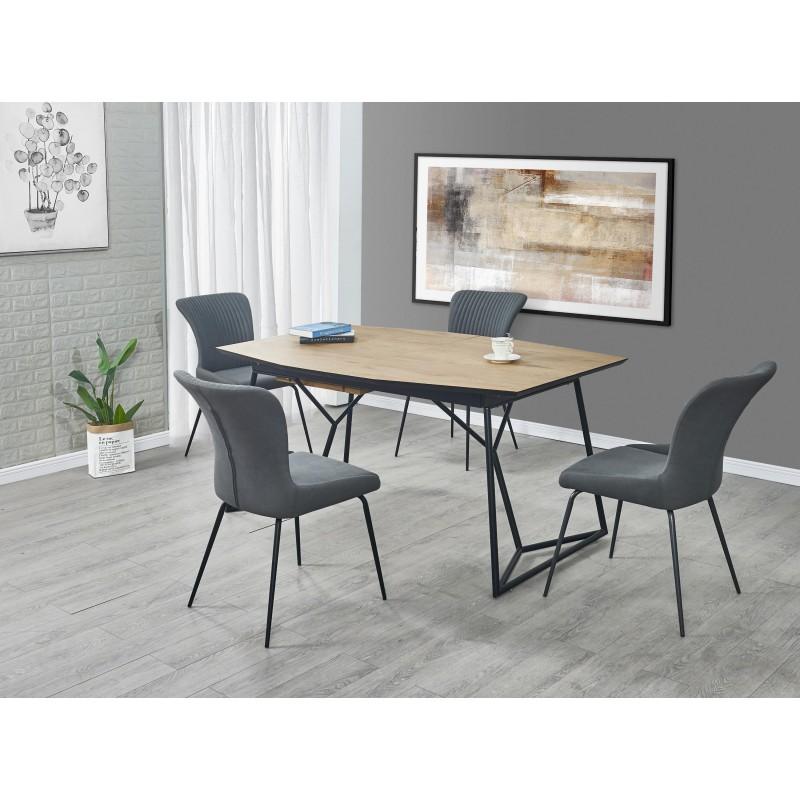COLOMBO stół rozkładany, blat - dąb złoty / czarny, nogi - czarne
