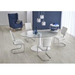 CORAL stół biały,  blat - bezbarwny