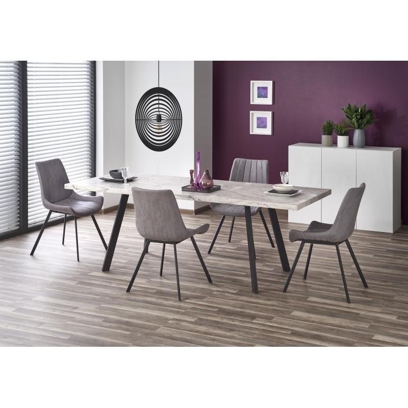 DALLAS stół rozkładany czarny stelaż, blat - marmur