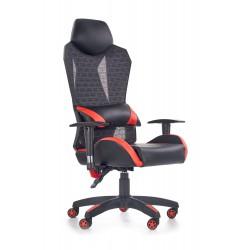 DOMEN fotel gabinetowy czarno - popielato - czerwony