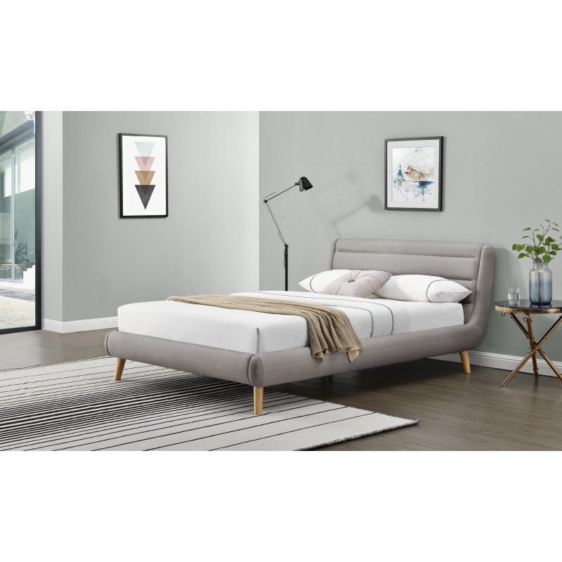 ELANDA 160cm łóżko jasny popiel