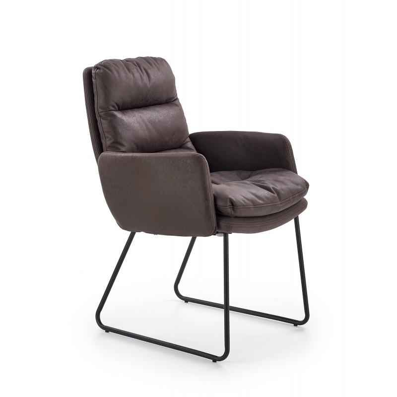 FASSI fotel wypoczynkowy, stelaż - czarny, tapicerka - ciemny popiel