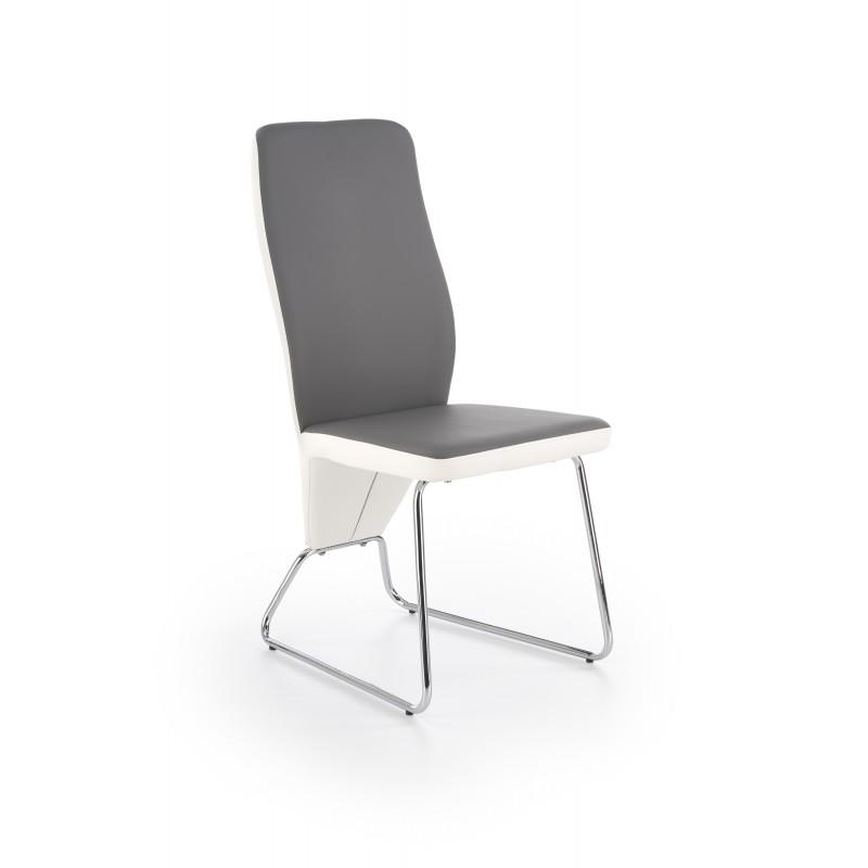 K299 krzesło tył - biały, przód - popiel, stelaż - chrom