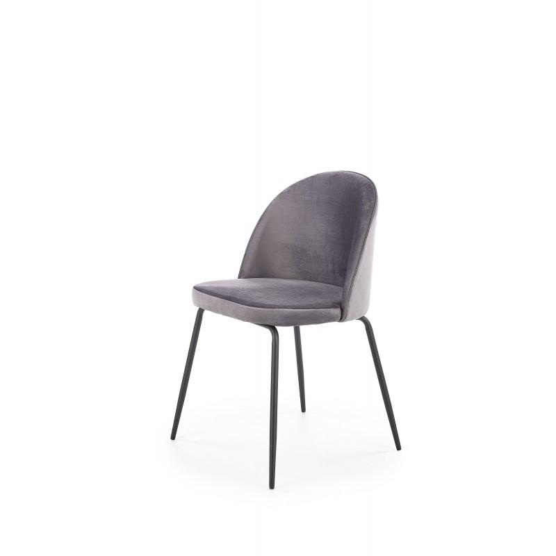 K314 krzesło nogi - czarne, tapicerka - c. popielaty