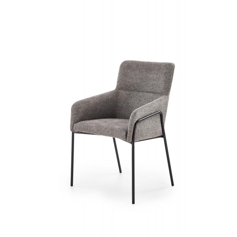 K327 krzesło stelaż - czarny, tapicerka - popielaty