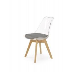 K342 krzesło popielaty / transparentny, nogi - buk