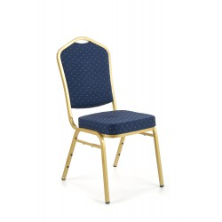 K66 krzesło niebieski, stelaż złoty