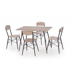 KABIR prostokąt zestaw stół + 4 krzesła dąb san remo / czarny