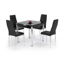 KENT stół rozkładany czarny, stal chromowana