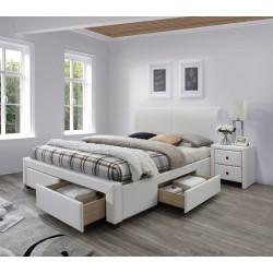 MODENA 2 łóżko tapicerowane z szufladami biały