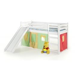 NEO PLUS - łóżko piętrowe ze zjeżdżalnią i materacem - biały