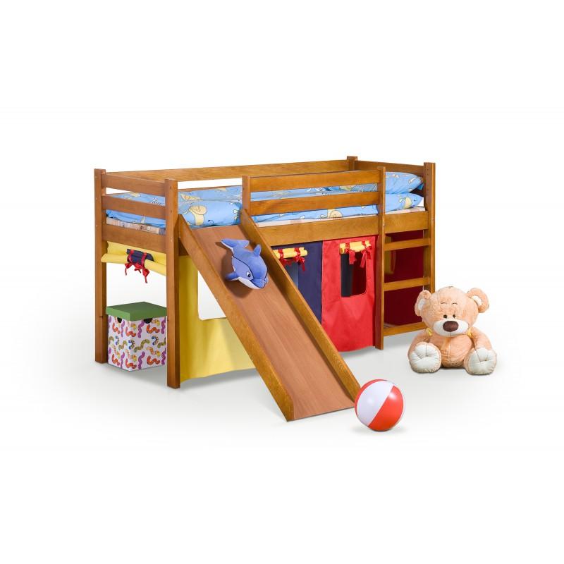 NEO PLUS - łóżko piętrowe ze zjeżdżalnią i materacem - olcha