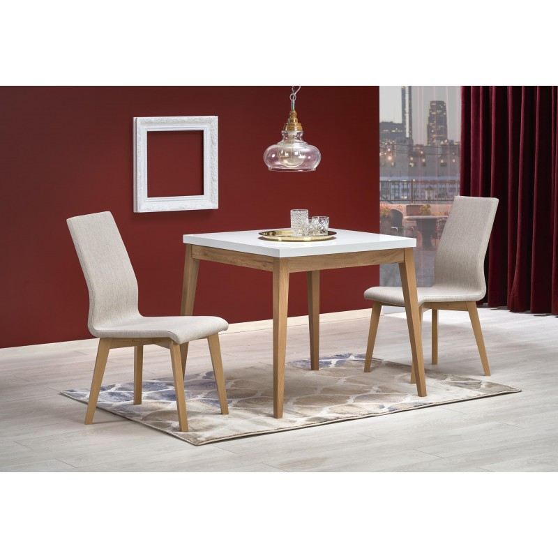 TRUMP stół kolor blat - biały, nogi - dąb craft (80x80x75 cm)